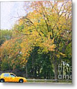 Yellow Nyc Taxi Driving Through Central Park Usa Metal Print