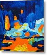Yellow Orange Blue Sunset Landscape Metal Print
