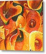 Yellow-orange Calla Lilies Metal Print