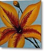 Yellow Oriental Lily Metal Print