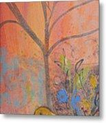 Yellow Peace Bird On Orange Metal Print
