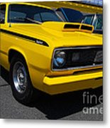 Yellow Plymouth Duster Metal Print