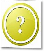 Yellow Question Mark Round Button Metal Print