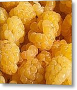 Yellow Raspberry Abstract Metal Print
