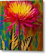 Yellow Red Mum With Yellow Black Butterfly Metal Print