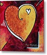 Yellow Red Orange Heart Love Painting Pop Art Love By Megan Duncanson Metal Print by Megan Duncanson