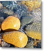 Yellow Rocks At Lake Shore Metal Print