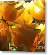 Yellow Roses And Light Metal Print