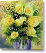 Yellow Roses Metal Print by Kathy Braud