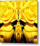 Yellow Roses Mirrored Effect Metal Print