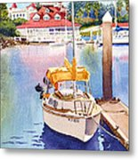 Yellow Sailboat And Coronado Boathouse Metal Print