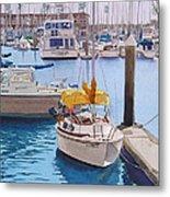 Yellow Sailboat Oceanside Metal Print