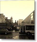 Yellow Skies Over A Glasgow Street Metal Print