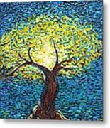 Yellow Squiggle Tree Metal Print