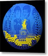 Yellow Submarine Baseball Square Metal Print