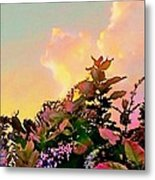 Yellow Sunrise And Flowers - Vertical Metal Print