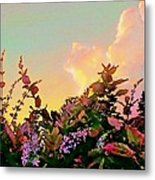 Yellow Sunrise With Flowers - Square Metal Print