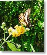 Yellow Swallowtail On Yellow Lantana Metal Print