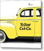 Yellow Taxi Cab Metal Print