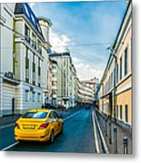 Yellow Taxi Of Moscow Metal Print