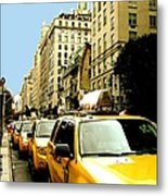 Yellow Taxis Metal Print by Claudette Bujold-Poirier