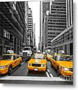 Yellow Taxis In New York City - Usa Metal Print