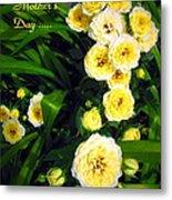 Yellow Tea Rose  Happy Mother's Day Metal Print