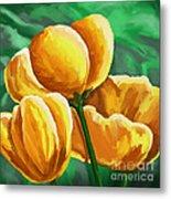 Yellow Tulips On Green Metal Print