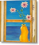 Yellow Vase With Sea View Metal Print