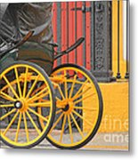 Yellow Wheeled Carriage In Seville Metal Print