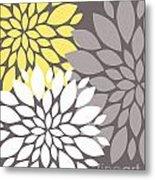 Yellow White Grey Peony Flowers Metal Print