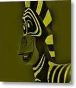 Yellow Zebra Metal Print