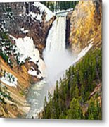 Yellowstone Falls In Spring Time Metal Print