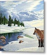 Yellowstone Fox Metal Print