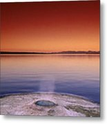 Yellowstone Lake And Geyser Metal Print