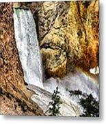 Yellowstone Lower Falls Rainbow Metal Print