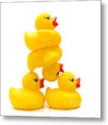 Yelow Ducks Metal Print by Bernard Jaubert