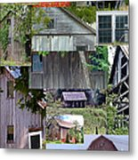 Yesterday Barns Collage Metal Print