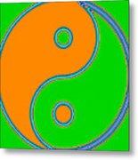 Yin Yang Orange Green Pop Art Metal Print