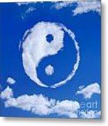 Yin-yang Symbol Made Of Clouds Metal Print