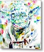Yoda Watercolor Portrait.1 Metal Print