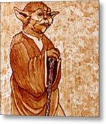 Yoda Wisdom Original Coffee Painting Metal Print