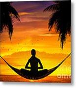Yoga At Sunset Metal Print
