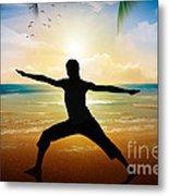 Yoga On Beach Metal Print