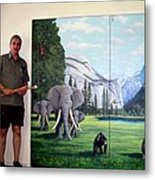 Yosemite Dreams Mural On Doors Metal Print