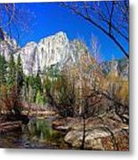 Yosemite Falls Along The Merced River Metal Print