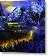Yosemite Valley At Night Metal Print