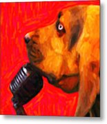 You Ain't Nothing But A Hound Dog - Red - Painterly Metal Print by Wingsdomain Art and Photography