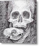 You Are What You Eat Skull Drawing Metal Print