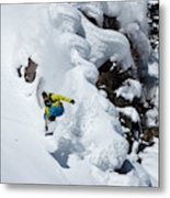 Young Adult Snowboarding Off Powder Metal Print
